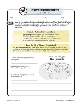 WORLD'S HIGHEST WIND SPEED: 231 MPH—Weather Worksheets and Activities