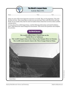 WORLD'S LARGEST DAMS: NUREK DAM—Science and Technology Worksheets and Activities