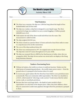 WORLD'S LARGEST SHIP: THE MONT—Science and Technology Worksheets and Activities