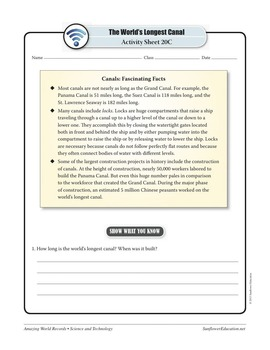 WORLD'S LONGEST CANAL: THE GRAND CANAL OF CHINA—Technology Worksheets