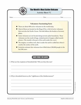 WORLD'S MOST ACTIVE VOLCANO: STROMBOLI—Science Worksheets and Activities