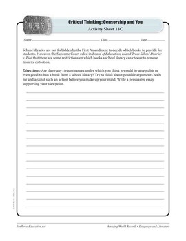 WORLD'S MOST CONTROVERSIAL BOOK: THE SATANIC VERSES— Literature Worksheets