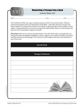 WORLD'S MOST POPULAR BOOK: THE BIBLE—Language and Literature Worksheets