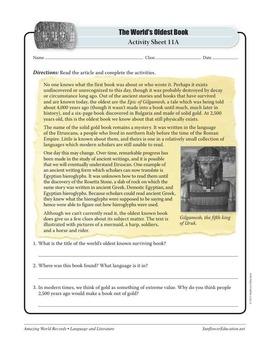 WORLD'S OLDEST BOOK: ETRUSCAN BOOK—Language & Literature Worksheets & Activities