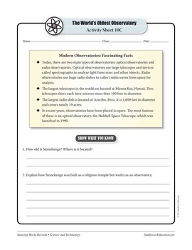 WORLD'S OLDEST OBSERVATORY: STONEHENGE—Science Worksheets and Activities
