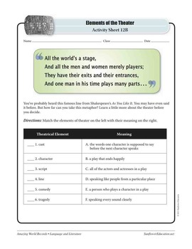WORLD'S OLDEST PLAY: THE PERSIANS—Language & Literature Worksheets & Activities