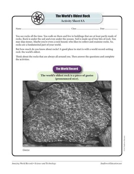 WORLD'S OLDEST ROCK: A PIECE OF GNEISS—Science Worksheets and Activities