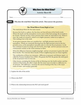 WORLD'S WINDIEST PLACE: PORT MARTIN, ANTARCTICA—Weather Worksheets & Activities