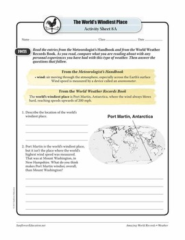 WORLD'S WINDIEST PLACE: PORT MARTIN, ANTARCTICA—Weather Worksheets & Activities