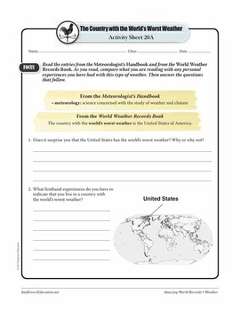 WORLD'S WORST WEATHER: THE UNITED STATES—Weather Worksheets and Activities