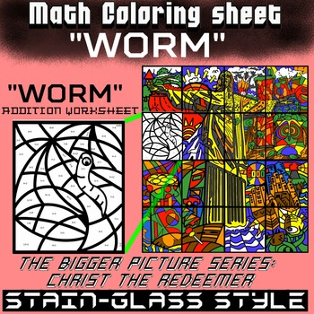 Math Colouring Worksheet (Addition) -Worm