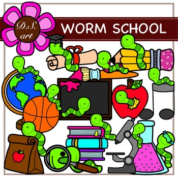 WORM SCHOOL Digital Clipart (color and black&white)
