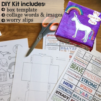 WORRY BOXES: School Counseling Collage & Origami Coping Tool to Manage Anxiety