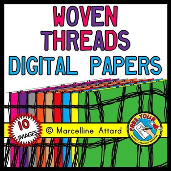 WOVEN THREADS DIGITAL PAPER RAINBOW BACKGROUNDS CLIPART