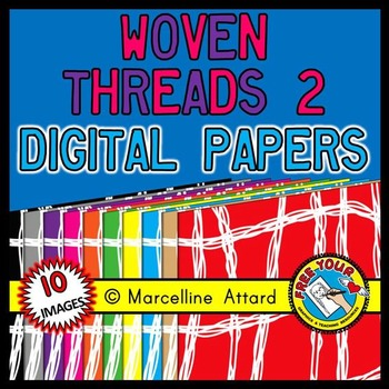 WOVEN THREADS LINED DIGITAL PAPER RAINBOW BACKGROUNDS CLIPART