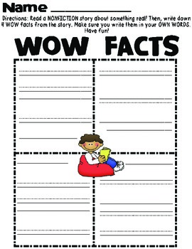 WOW Facts Nonfiction Reading Organizer FREEBIE