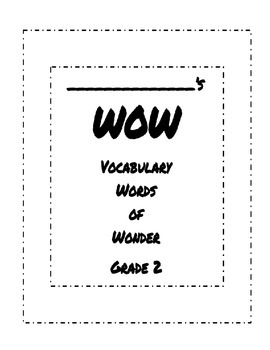 WOW Vocabulary Words of Wonder Booklet