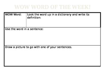 WOW Word Worksheet
