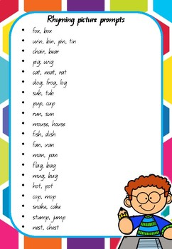 WOW Writing Prompts - Rhyming Pictures