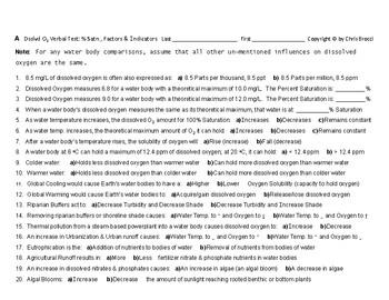 WQ 21: Water Dissolved Oxygen VERBAL TEST: Percent Saturation Factors Indicators