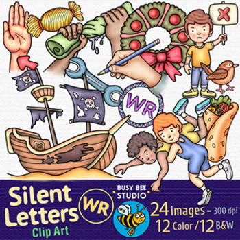 WR clipart set | Silent Consonant Letters Clip Art