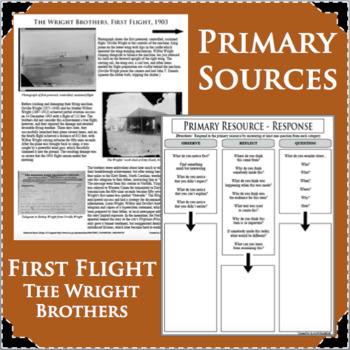 THE WRIGHT BROTHERS, FIRST FLIGHT, PRIMARY SOURCE ACTIVITY for History