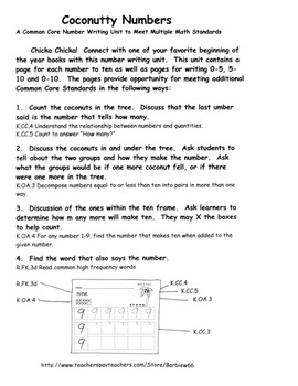 WRITE NUMBERS to 10 Chicka Chicka Coconuts *Sample Pages 1-3