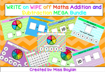 WRITE ON WIPE OFF Maths Addition and Subtraction Games MEGA BUNDLE