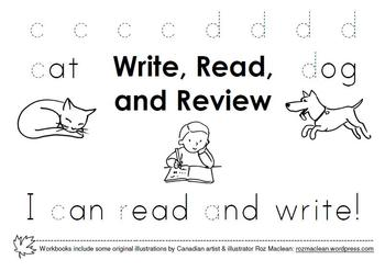 WRITE, READ & REVIEW (BOOKS 1 and 2) Alphabet Printing Workbooks for K-1