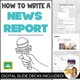 WRITING A NEWS ARTICLE Digital Template and News Report Graphic Organizer