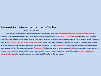 WRITING A PARAGRAPH Power Point