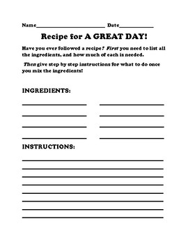 WRITING A RECIPE FOR A GREAT DAY!