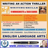 WRITING AN ACTION THRILLER - 9 WORKSHEETS AND TASK CARDS