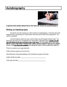 WRITING ASSIGNMENT- AUTOBIOGRAPHY- LANGUAGE ARTS- NO PREP