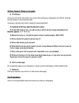 WRITING ASSIGNMENT- BIOGRAPHY- LANGUAGE ARTS- NO PREP
