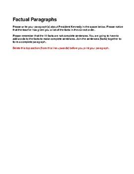 WRITING ASSIGNMENT- FACTUAL PARAGRAPH- LANGUAGE ARTS- NO PREP