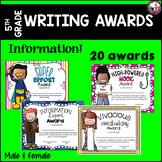 WRITING AWARDS FOR 5TH GRADE Editable