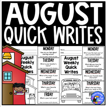 Back to School Activities Quick Writes First Week of School