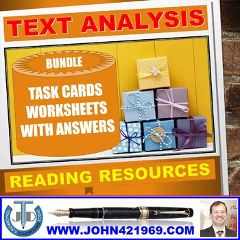 TEXT ANALYSIS TASK CARDS AND WORKSHEETS WITH ANSWERS