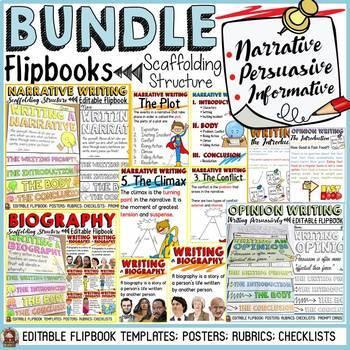 NARRATIVE/OPINION/BIOGRAPHY WRITING BUNDLE:  FLIPBOOKS/INTERACTIVE NOTEBOOK
