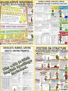 NARRATIVE/OPINION/BIOGRAPHY WRITING BUNDLE:  FLIPBOOKS/INB: EDITABLE