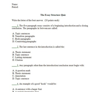 Writing Basics Bundle-MLA Essay Structure & Template, Outline, Quiz with Key