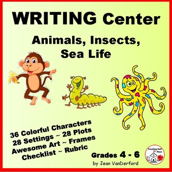 WRITING CENTER - Animals, Insects, Sea Life ... Gr. 3-4-5