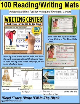 Fine Motor WRITING CENTER MATS Read Trace Write Fill-In-The-Blank for Autism