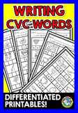SPELLING WORD WORK ACTIVITIES KINDERGARTEN (DIFFERENTIATED CVC WORKSHEETS)