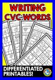 DIFFERENTIATED CVC WORDS WORKSHEETS (SPELLING WORD WORK ACTIVITIES KINDERGARTEN)