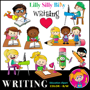 WRITING Clipart set. BLACK AND WHITE & Color Bundle. {Lilly Silly Billy}