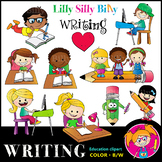 WRITING Clipart set. BLACK AND WHITE & Color Bundle. {Lill