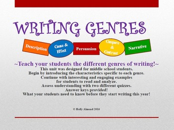 Writing Genres By Holly Almond Teachers Pay Teachers
