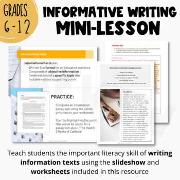 Writing the INFORMATION PARAGRAPH | Complete Lesson, Guided Handout & Worksheets